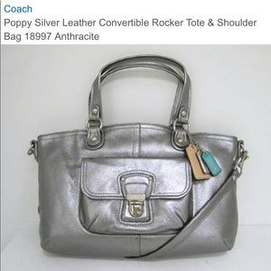 Coach Poppy Leather Rocker Silver Tote Top Handle